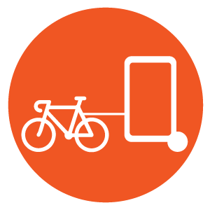 Mobile Outdoor Media Advertising Icons - Bike Billboard Circle