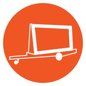 Mobile Outdoor Media Advertising Icons - Trailer Billboard Circle