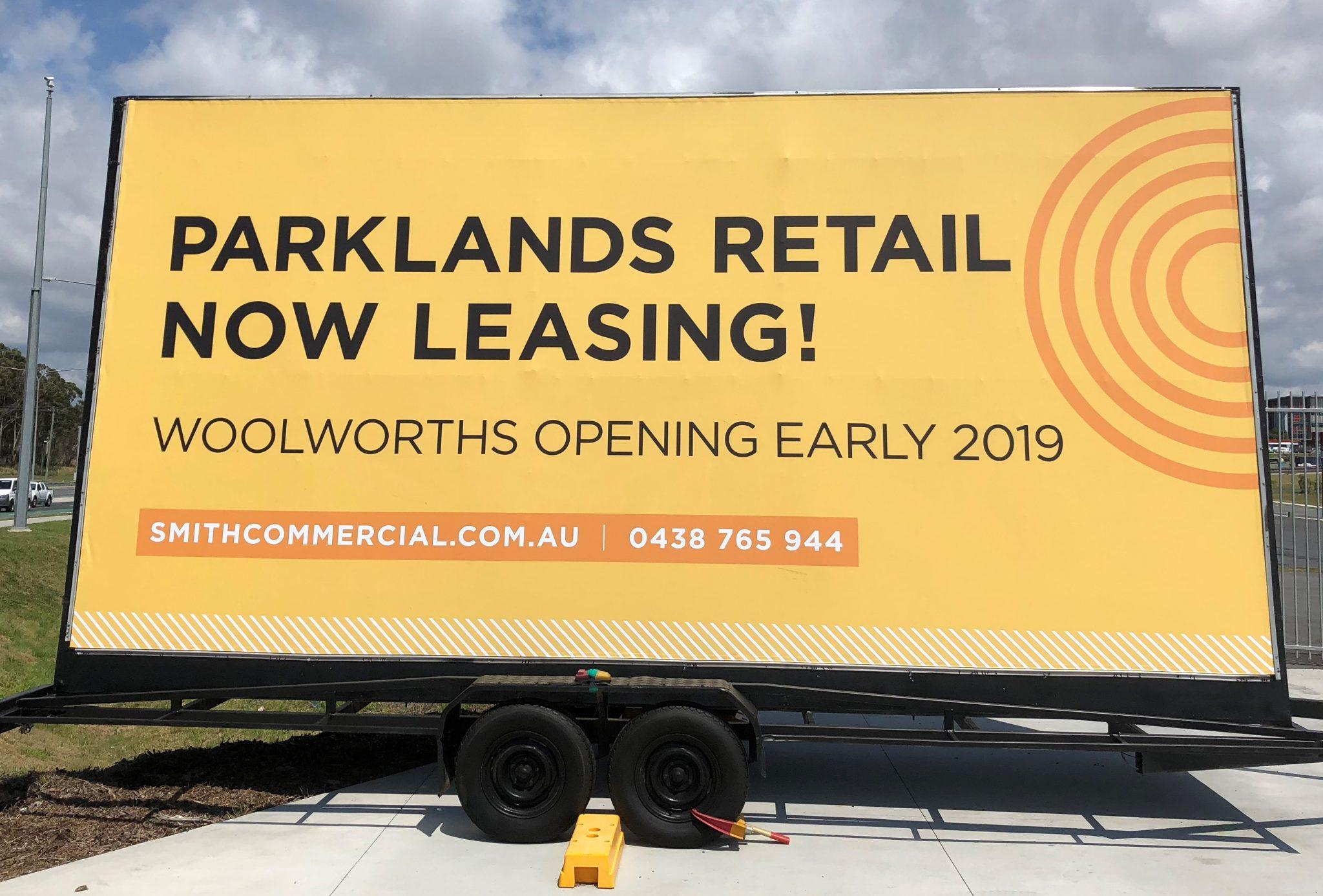 Trailer billboard for Parklands retail space leasing
